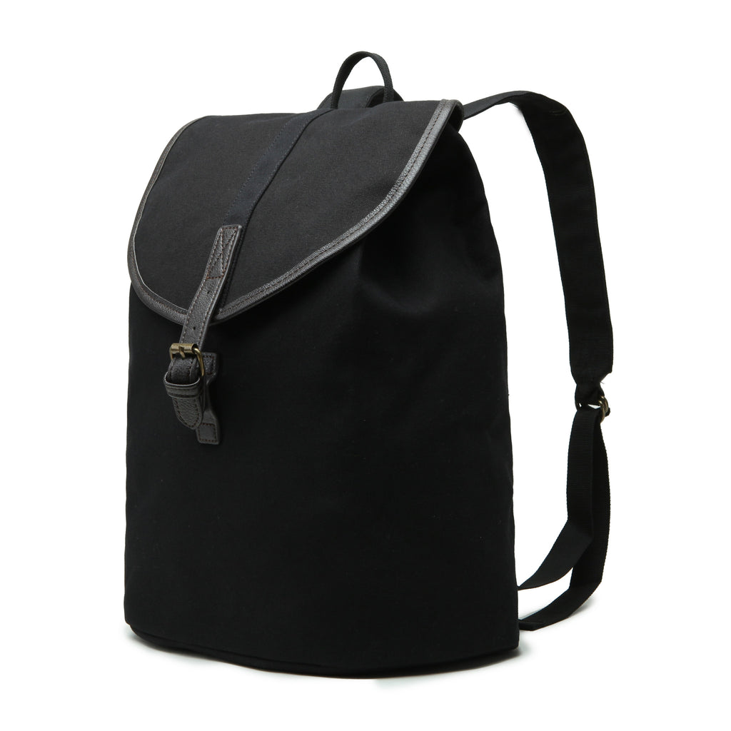Karitco Cotton Canvas with Leather Casual Rucksack (Black)