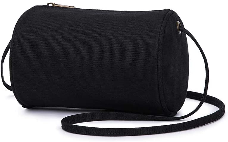 Womens Casual Cylinder Shape Handbag Simply New Popular Shoulder Bag (Black)