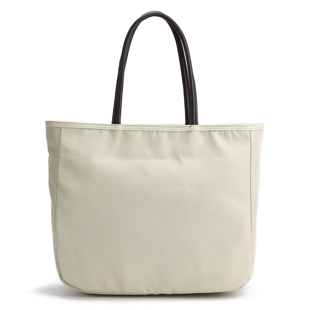 Karitco Plain Waterproof Nylon Tote with Top Handles (Beige)