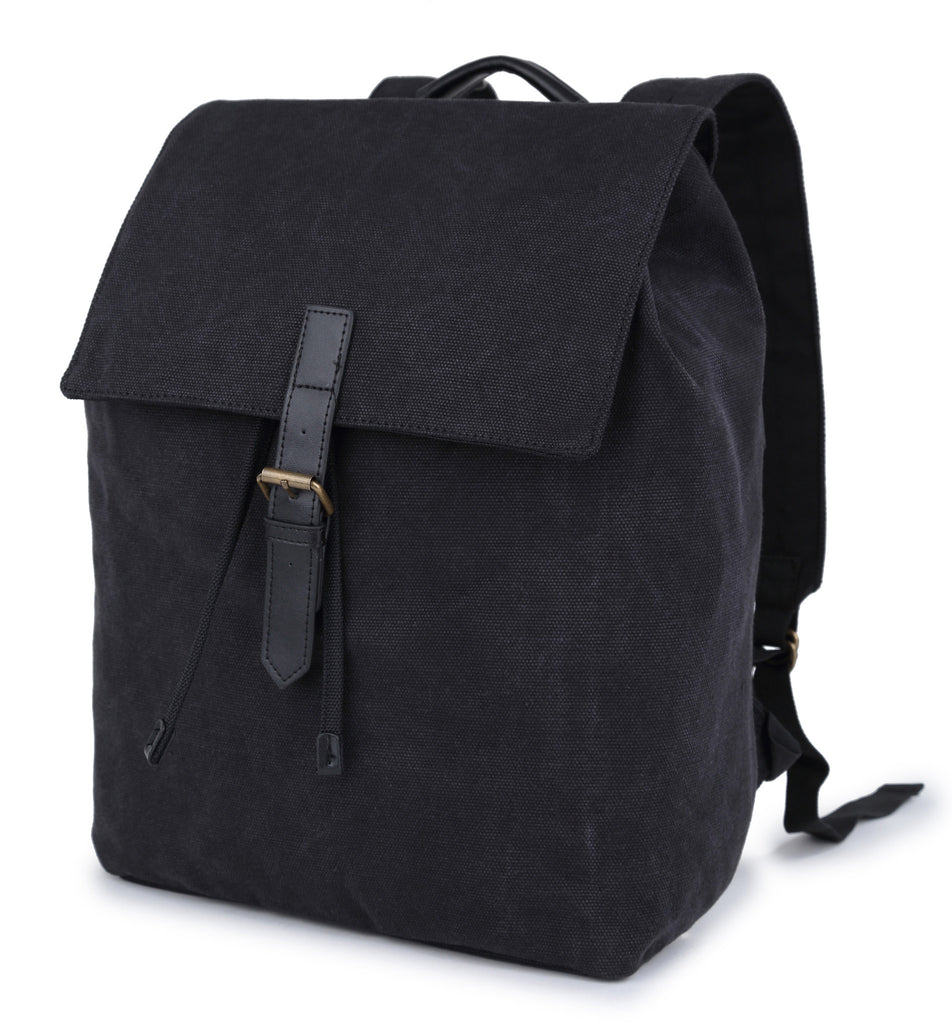 Karitco Drawstring Canvas Daypack with PU Leather Velcro