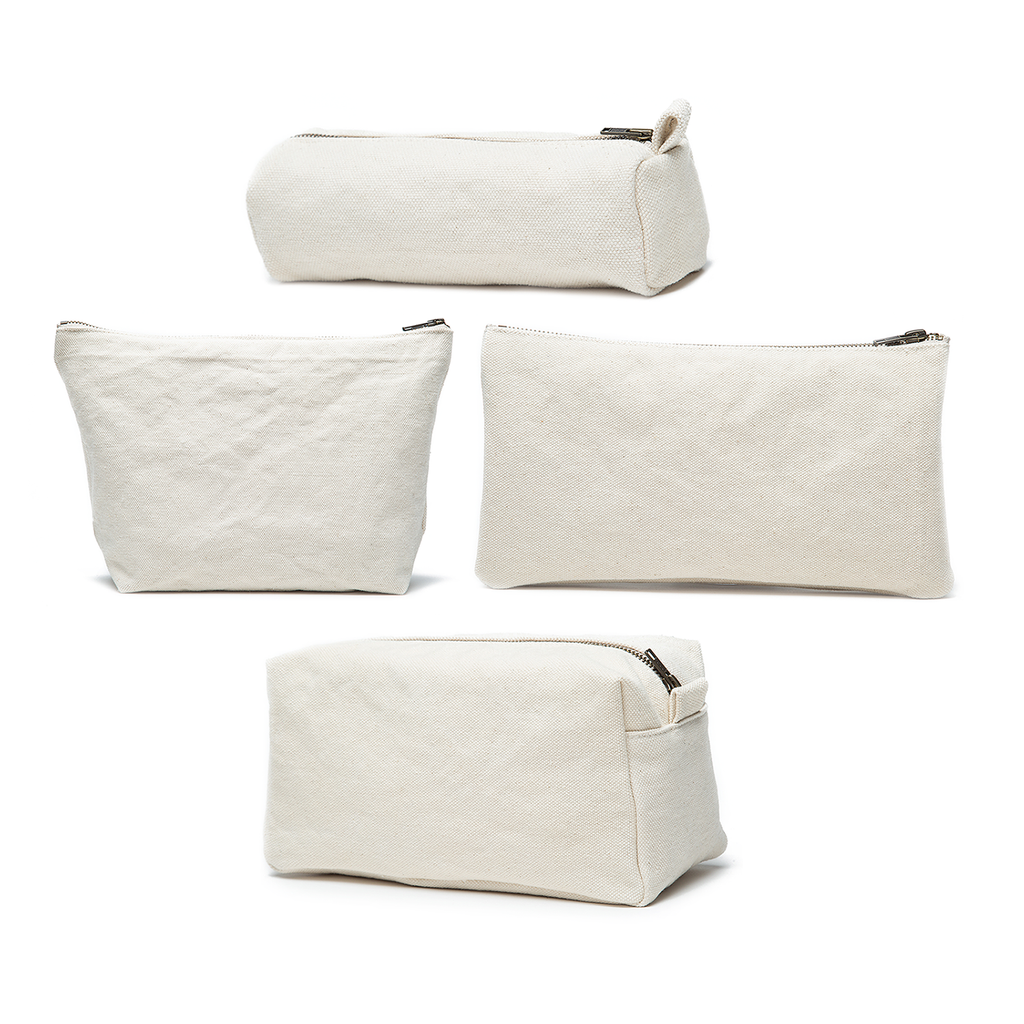 Karitco Cotton Canvas Make Up Cosmetic Bags Set of 4