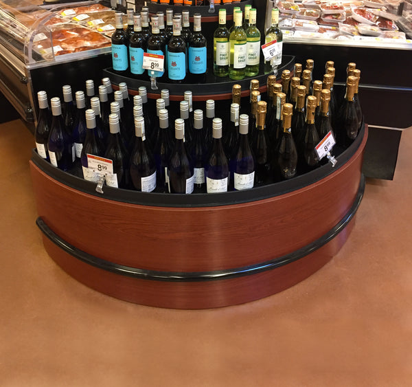 supermarket display with mccue bumper rail protection