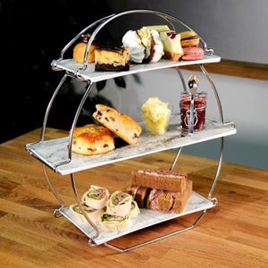 Dalebrook TSS3000MA Silver Afternoon Tea Stand Marble Platter Euroswift