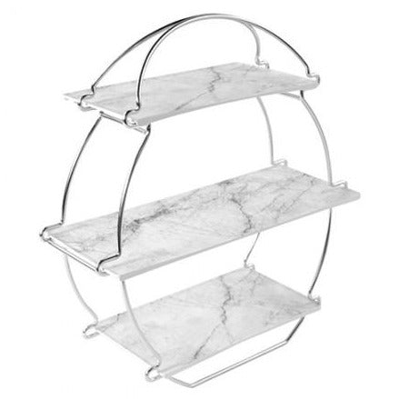 Silver Afternoon Tea Stand with Marble Effect Platters Set - Dalebrook