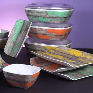 Dalebrook Tura Calypso Paint Effect Woodgrain Crock Platter Collection