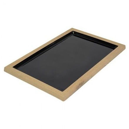 Tura Wood/Black Melamine Tray 420x280 - Dalebrook
