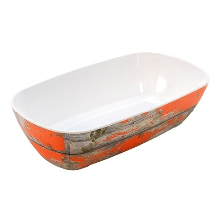 Dalebrook Tura TWD7713OR Melamine Curved Buffet Display Serving Crock Bowl