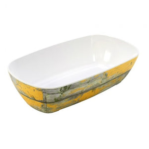 Dalebrook Tura TWD7713Y Melamine Curved Buffet Display Serving Crock Bowl