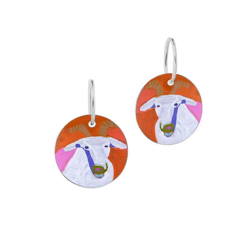 ARTIST Karen Napaljarri Barnes Goat Of Yuendumu Desert Dogs Program Aboriginal jewellery jewelry earrings dog tag
