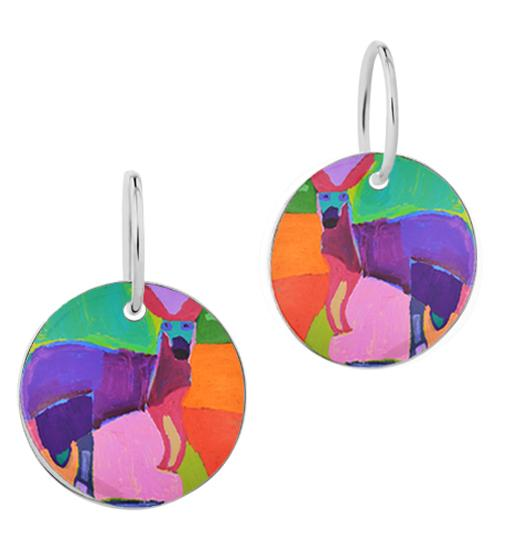ARTIST Karen Napaljarri Barnes Kangaroo Of Yuendumu Desert Dogs Program Indigenous jewellery jewelry dog tag earrings