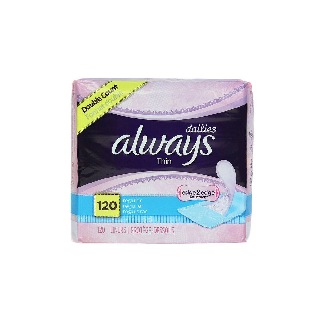 Always Thin Daily Liners, Regular, 120 count