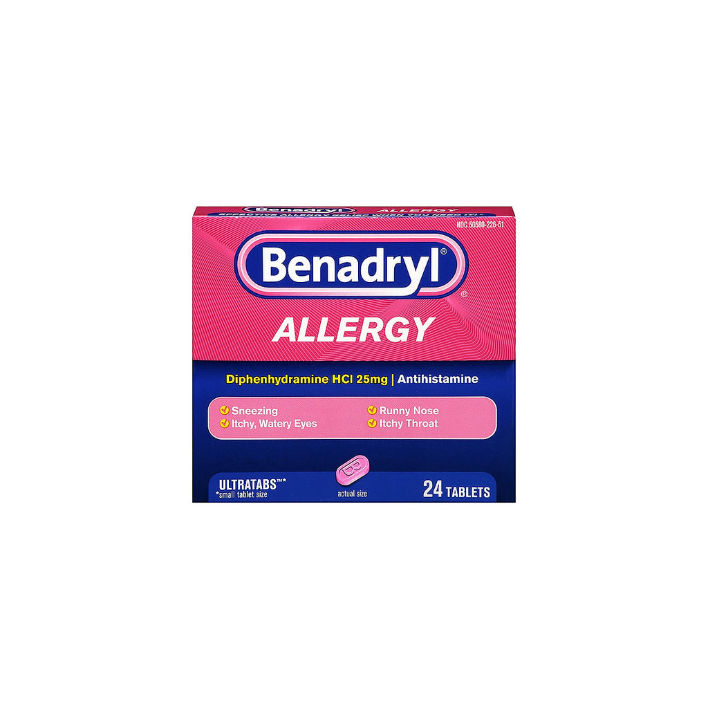 Benadryl Allergy Ultratabs, 25mg, 24 tablets