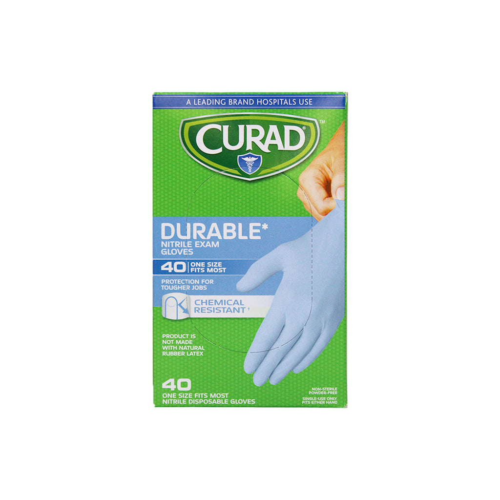 Curad Nitrile Exam Gloves, Powder-Free, One Size Fits Most, box of 40