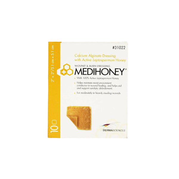 "Derma Sciences Medihoney Calcium Alginate Dressing, 2"" x 2"", box of 10"