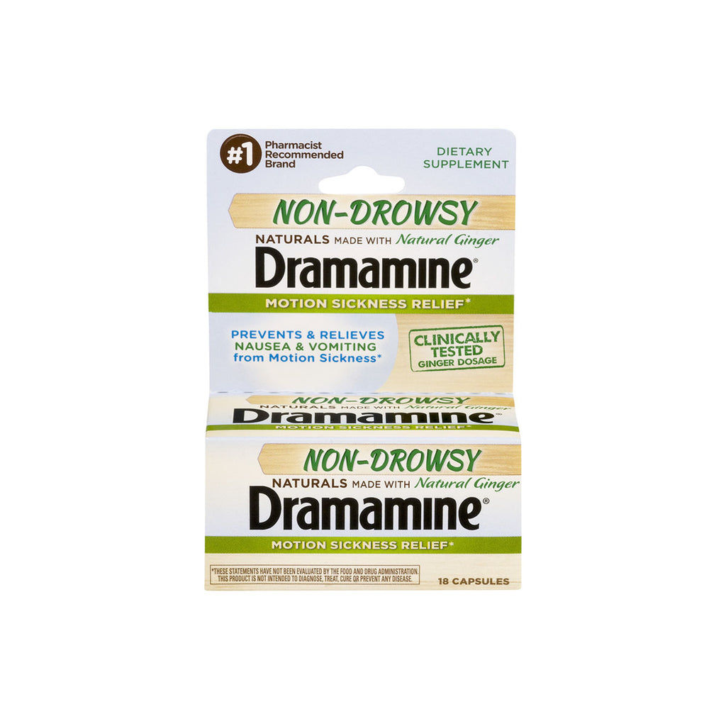 Dramamine Non-Drowsy Naturals with Natural Ginger, 500 mg, 18 capsules