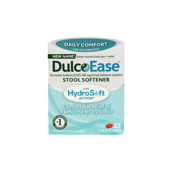 DulcoEase Stool Softener, 100 mg, 25 liquid gels