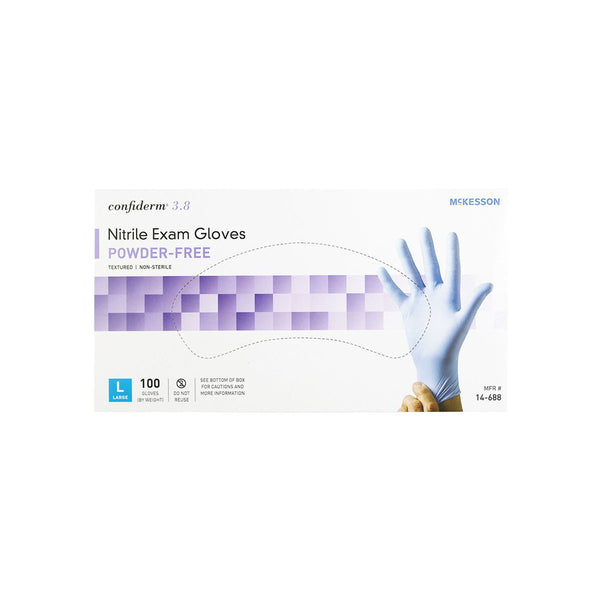 McKesson Confiderm 3.8 Nitrile Exam Gloves, Powder-Free, large, box of 100