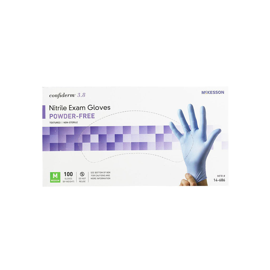 McKesson Confiderm 3.8 Nitrile Exam Gloves, Powder-Free, medium, box of 100