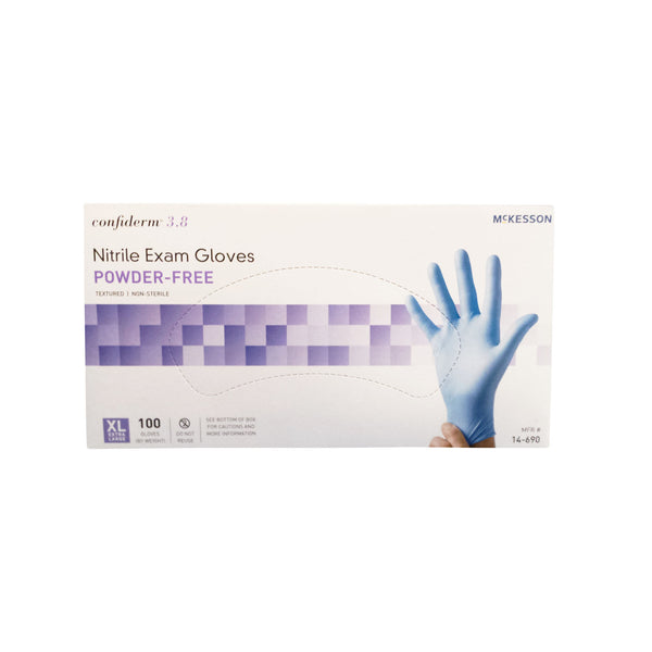 McKesson Confiderm 3.8 Nitrile Exam Gloves, Powder-Free, extra large, box of 100