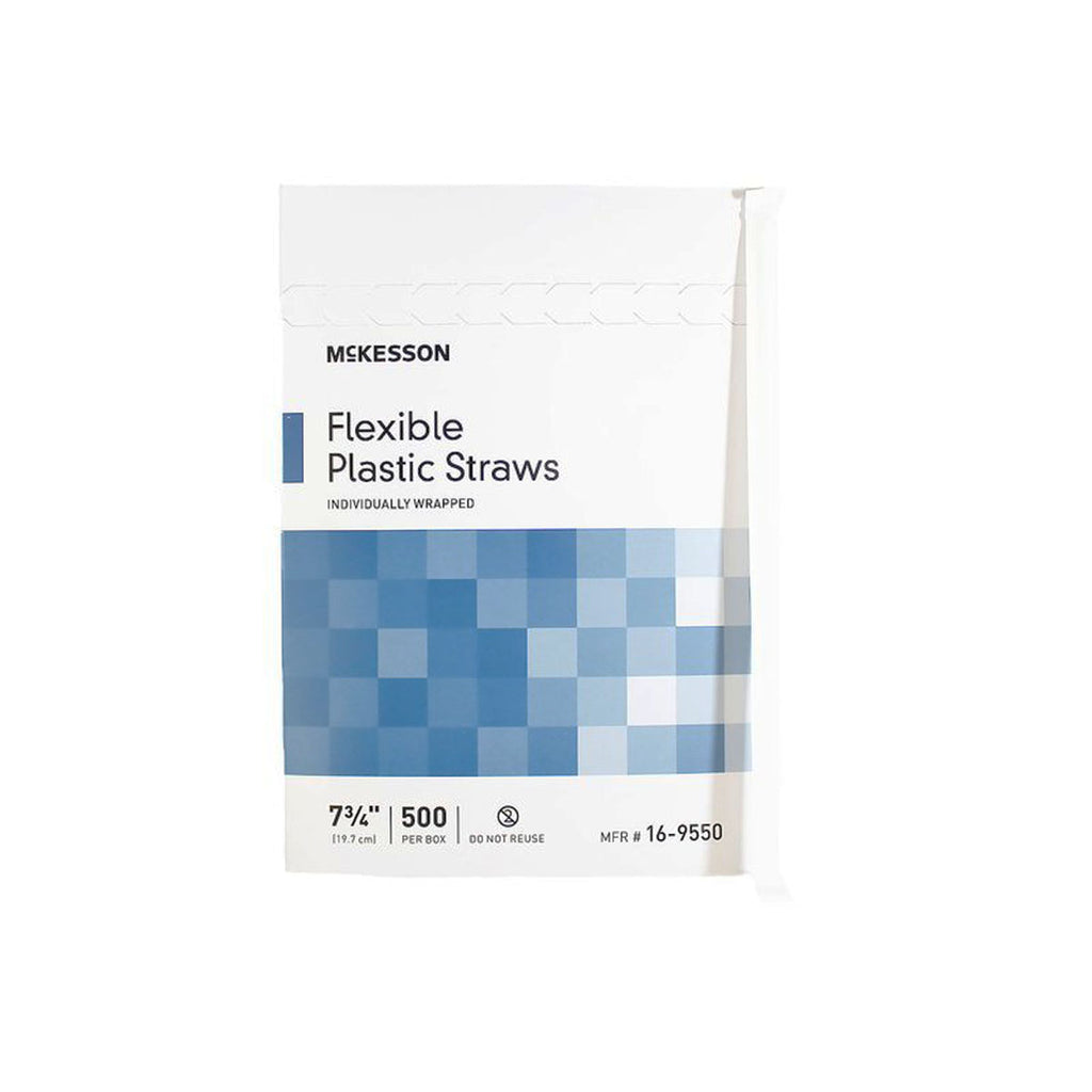 McKesson Flexible Plastic Straws, box of 500