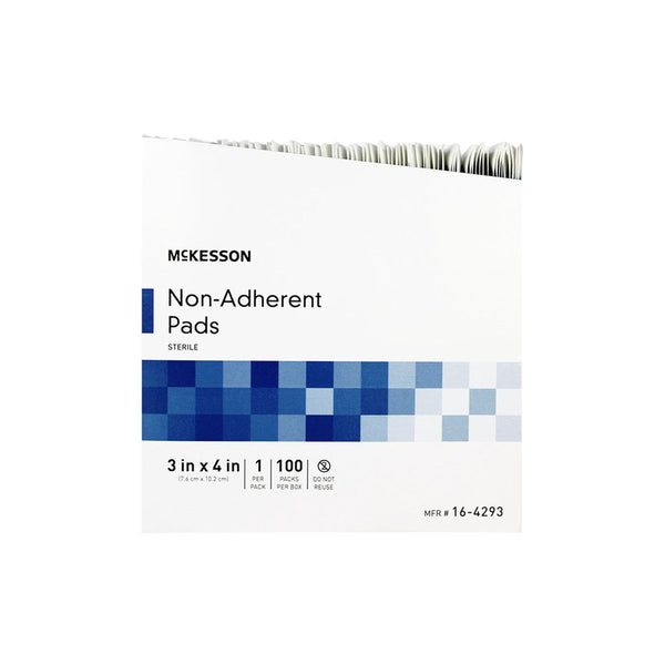 "McKesson Non-Adherent Sterile Pads, 3"" x 4"", box of 100"