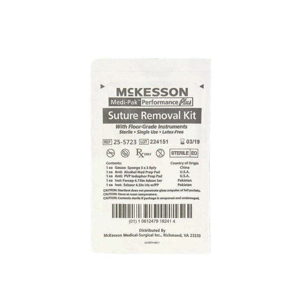 McKesson Suture Removal Kit with Metal Forceps & Scissors
