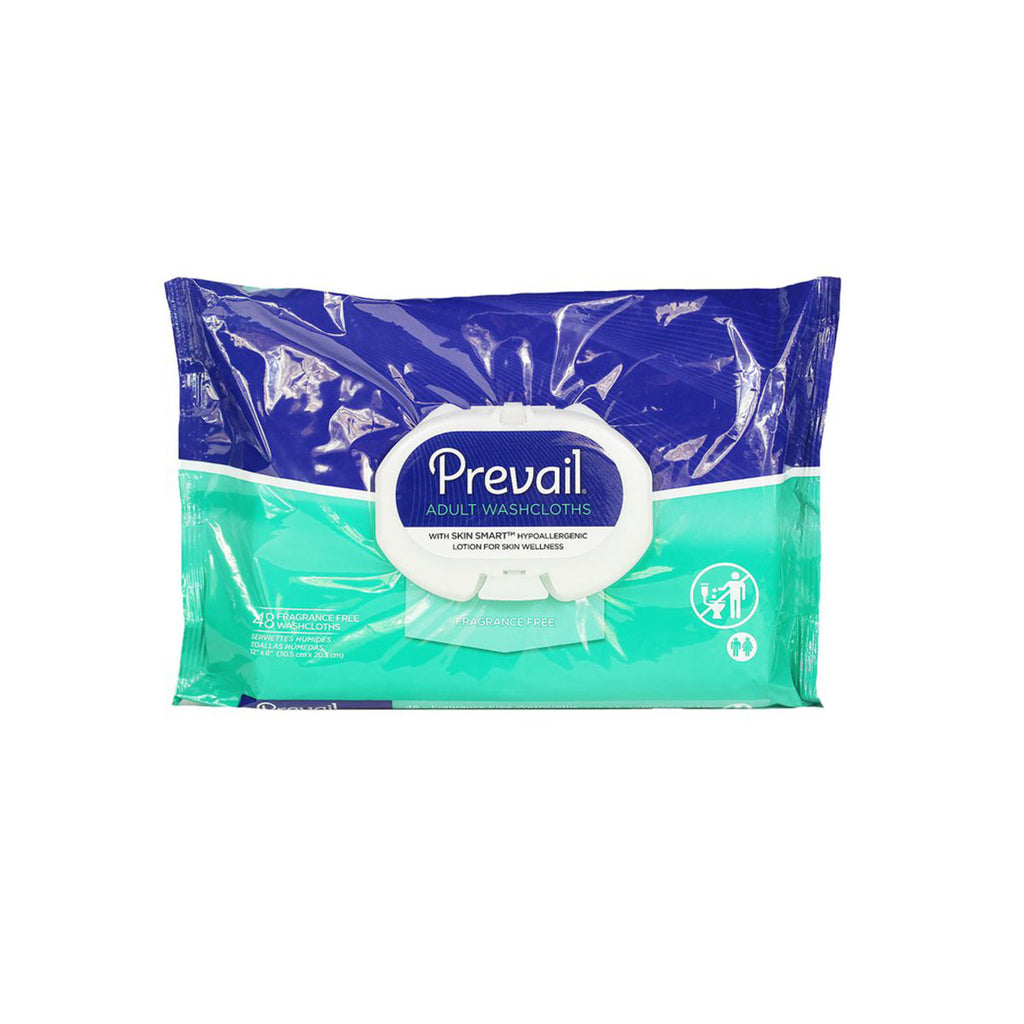 "Prevail Adult Washcloths, Hypoallergenic, 12"" x 8"", pack of 48"