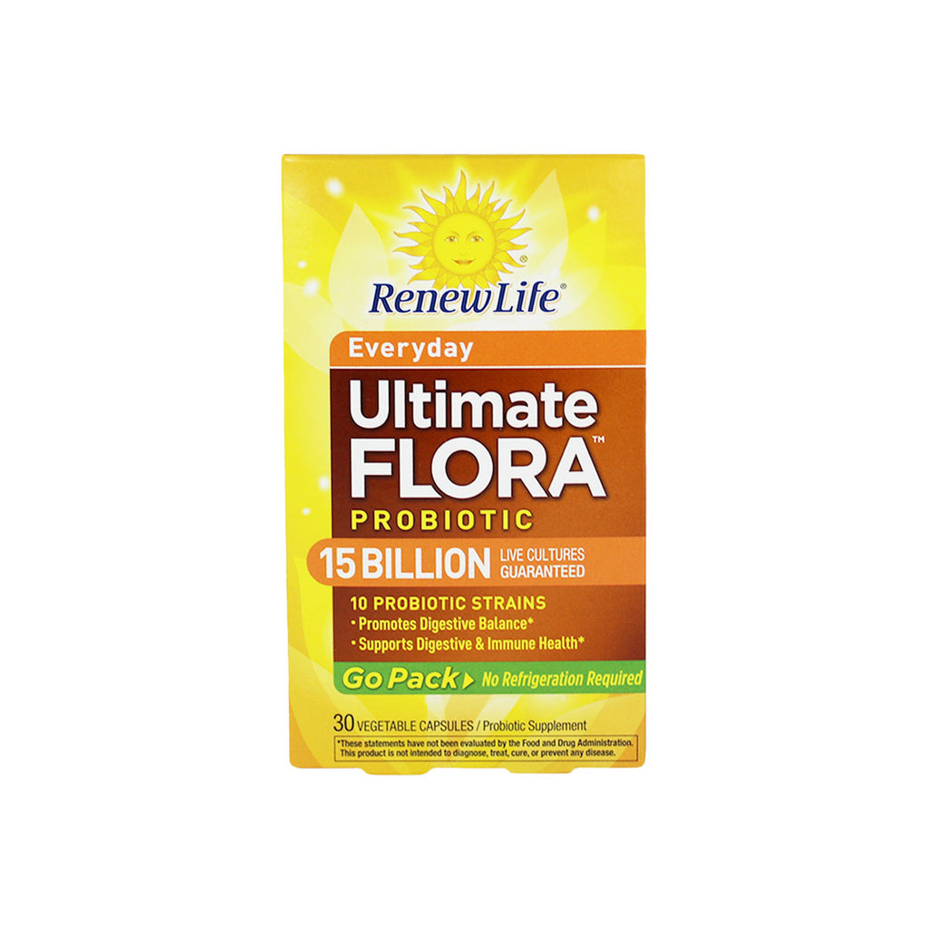 Renew Life Ultimate Flora Everyday Probiotic, 15 Billion Live Cultures, 30 capsules (Go Pack)