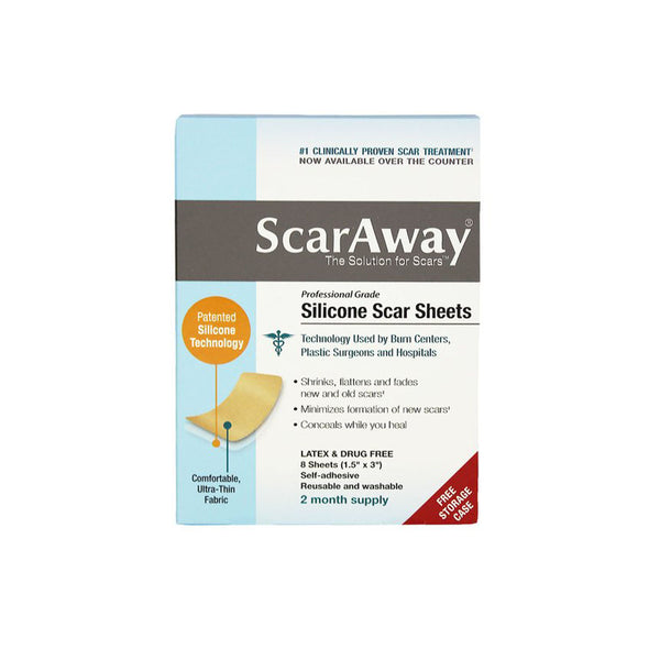 "ScarAway Silicone Scar Sheets, 1.5"" x 3"", box of 8"