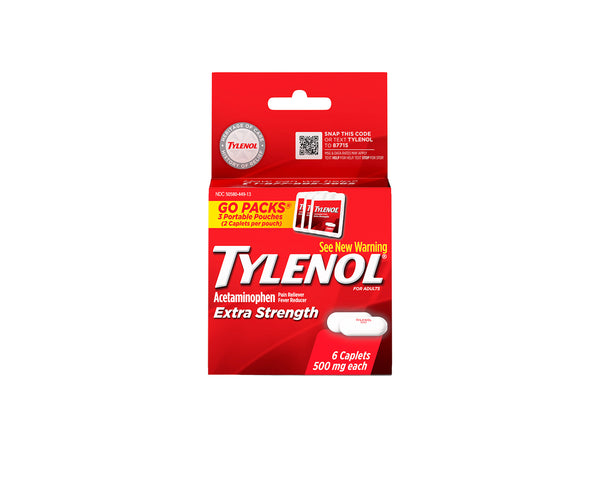 Tylenol Extra Strength, 500 mg, 3 Go Packs of 2 caplets each