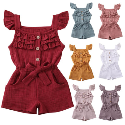 Ruffle Linen rompers - Lillys little luxuries