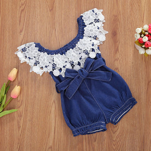 Amber denim lace romper - Lillys little luxuries