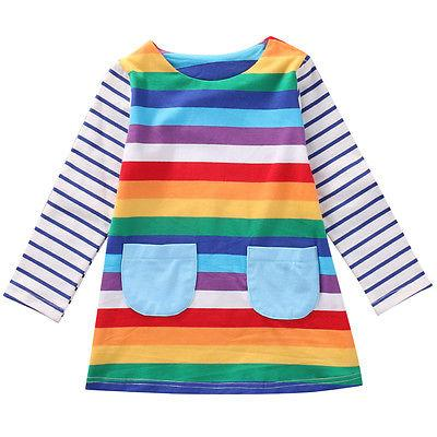 Rainbow long sleeve dress - Lillys little luxuries