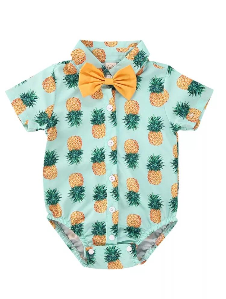 Pineapple bow tie romper - Lillys little luxuries