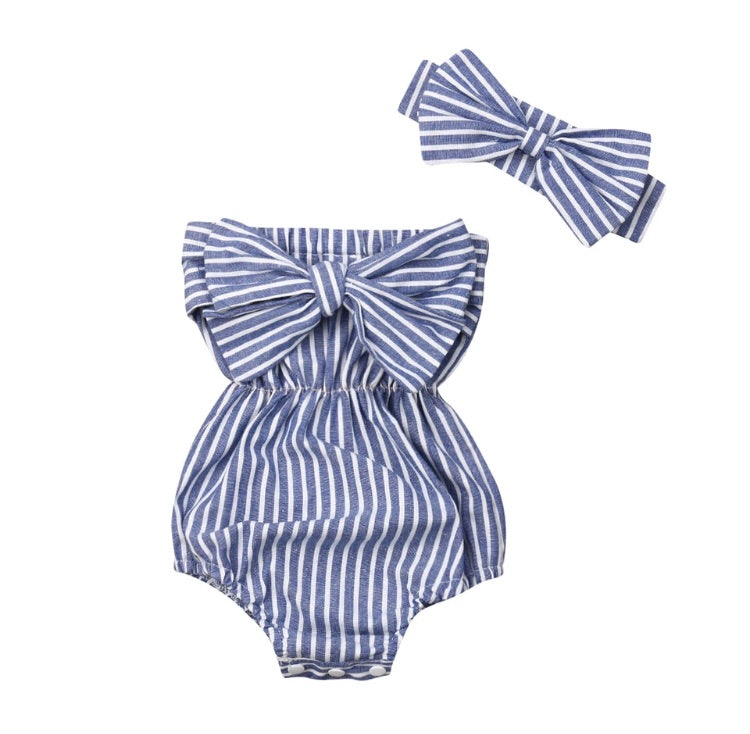 Stripe bow romper
