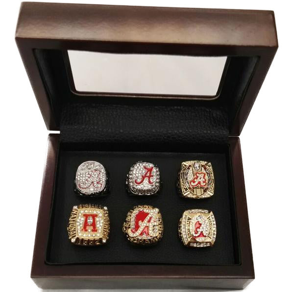 Alabama Crimson Tide - Replica NCAA National Championship Rings [6 Ring Set]