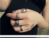Women's Vintage: Gypsy Bohemian Antique Silver Plated - Mid Knuckle Mini Ring Set (4 pieces)