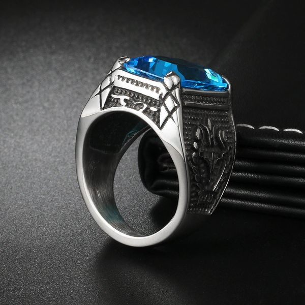 Sky Blue Signet Rhinestone Ring (Stainless Steel)