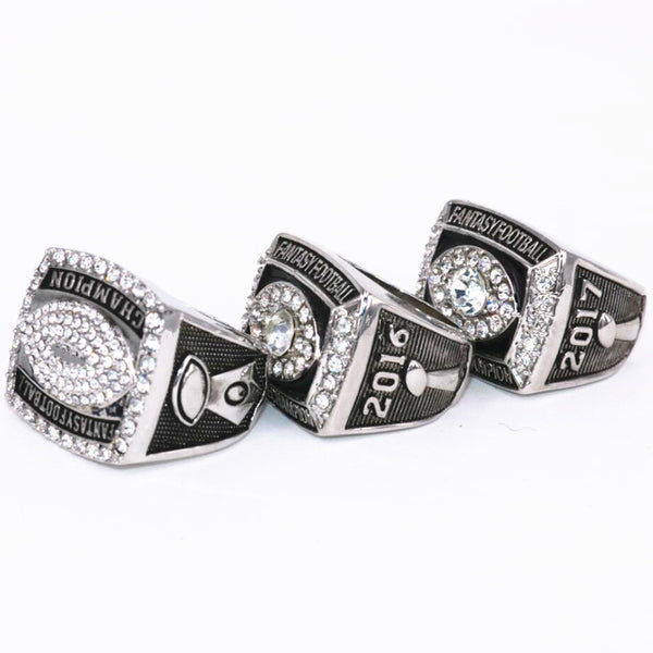 Fantasy Football League (2015 2016 2017) - Championship Rings [3 Ring Set]