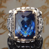 Blue Sapphire Zircon Gemstone - Bishop Polished Antique Finish Ring