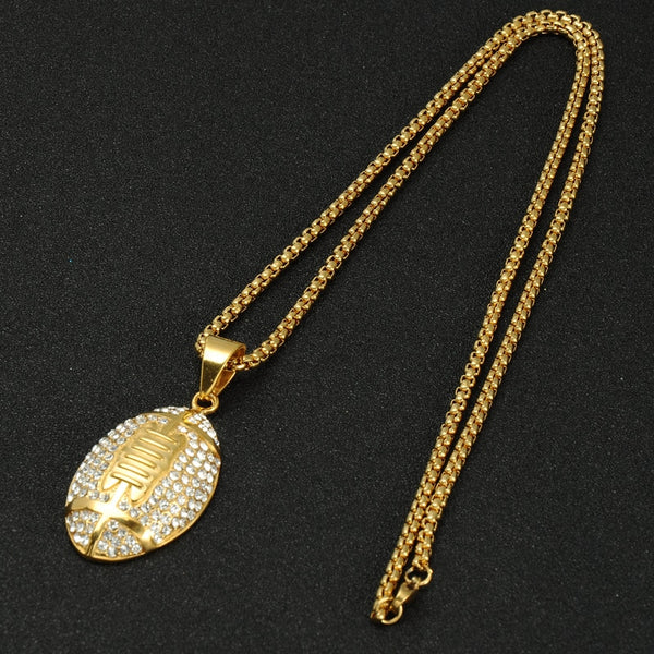 Golden Football - Cubic Zirconia (Stainless Steel) Necklace
