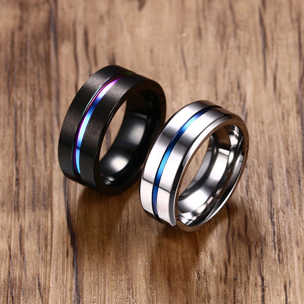 Black Titanium 8MM Engagement Ring Band- Matte Finish