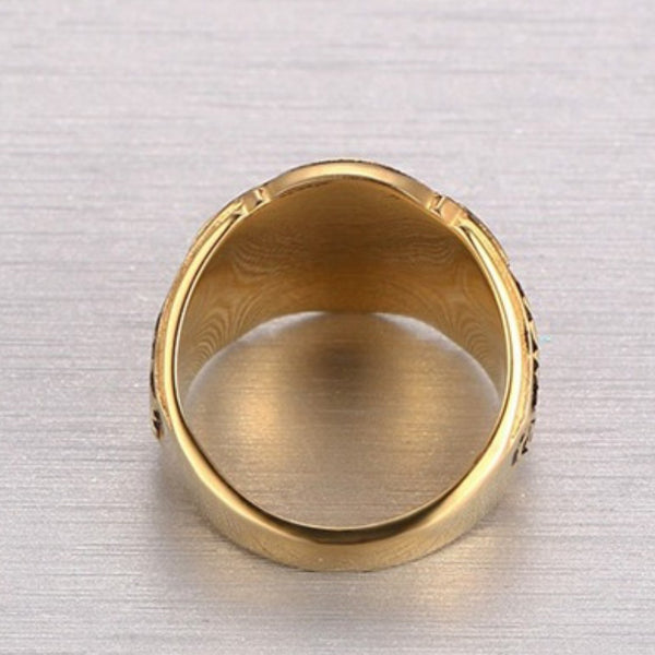 Vintage Mens Stainless Steel Gold Plated - Masonic Ring