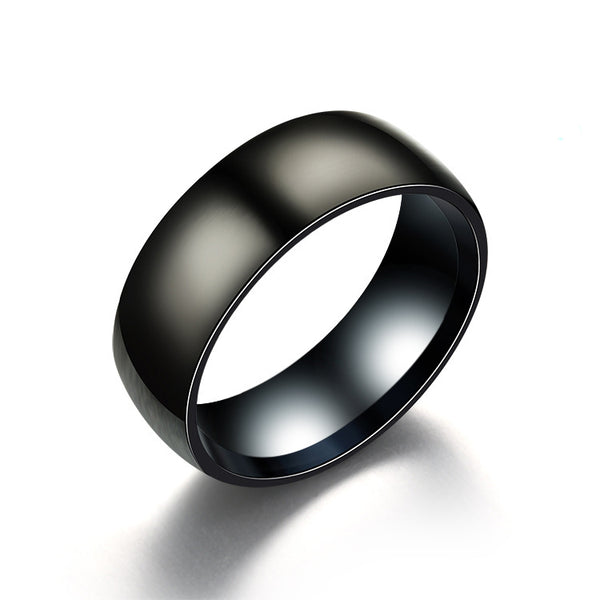 Classic Men's Engagement Ring - Black Titanium Matte Finish
