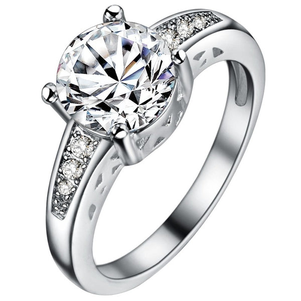 Women's Silver-Plated Engagement Ring Cubic Zirconia Diamond