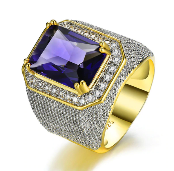 Bishop Ring (Stainless Steel) Purple Zircon Gemstone