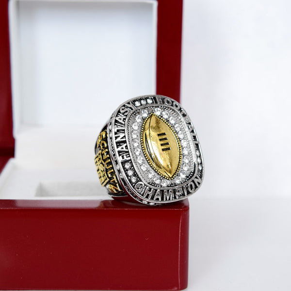 PREMIUM Fantasy Football League (2020) - CUSTOM NAME Championship Ring (Golden Football)