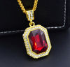 Red Zircon Gemstone - 18K Gold Plated Bishop Necklace