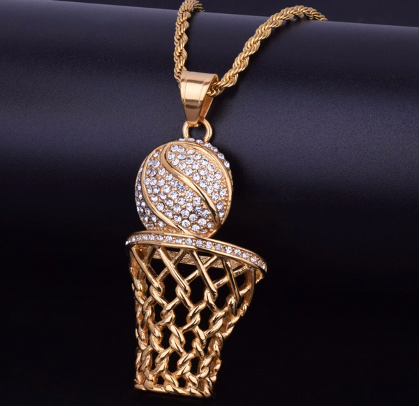Ball and Hoop - Cubic Zirconia (Stainless Steel) Basketball Necklace