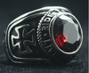 Motorcycle Club Biker Ring (Red Ruby) 316L Stainless Steel (Sizes 7-15)
